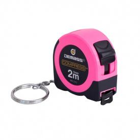Рулетка измерительная Demass Compress mini 2мx13мм, розовая (RW 2013P)