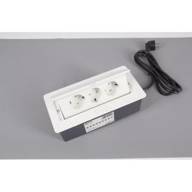Настольный встраиваемый удлинитель GTV Soft на 3 вилки горизонтальный белый