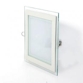 Точечный светодиодныйсветильникGlass RimMetal18W квадратный (White)