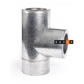 Тройник для дымохода с нержавеющей стали двустенный в оцинкованном кожухе 87° 150/220, 0.8 мм, AISI 321