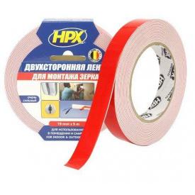 Лента двухсторонняя вспененная для зеркал HPX 19 мм 5 м картон DS1905