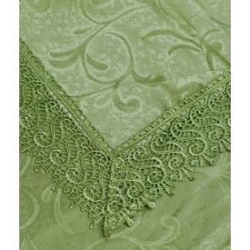 Скатертина Arya в коробці з гіпюром 160x220 см Fianco світло-зелена