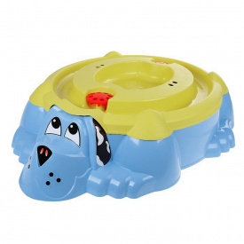 Песочница-бассейн голубая Собачка PalPlay с желтой крышкой