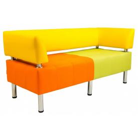 Диван Richman Офис Двойка 1550 x 680 x 450H см Со спинкой и подлокотниками Флай 2218/2240/2234 Желтый/Оранжевый/Зеленый
