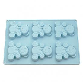 Силіконова форма для випічки 6 кексів Fissman Ведмежа 26х17х1,8 см блакитна (BW-6658.6)
