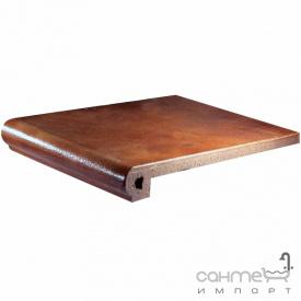 Клинкерная плитка ступень 25x33 Gres de Aragon Albany Peldano ref. 24-25 Siena коричневая