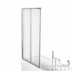 Шторка для ванны Besco PMD Piramida Ambition premium -2 80,5х140 профиль хром стекло прозрачное