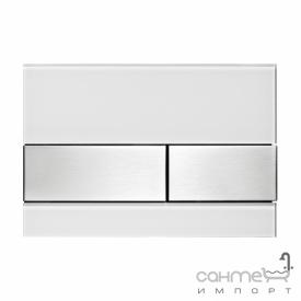 Панель смыва стеклянная (белое стекло) TECE TECEsquare 9.240.801 клавиши нержавеющая сталь