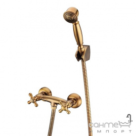 Смеситель для душа с душевой лейкой и держателем Blue Water Retro RET-BPK 030 STARE ZLOTO старое золото