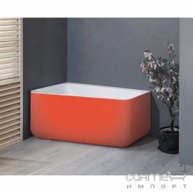 Отдельностоящая ванна из литого камня Balteco Gamma 150 белая внутри/Salmon Orange RAL 2012