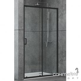 Душевая дверь в нишу Dusel EF185B Black Matt 140x190 профиль черный/прозрачное стекло
