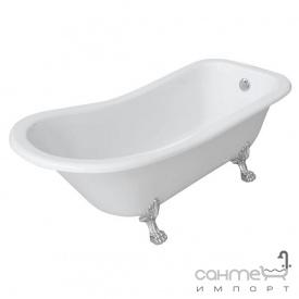 Акриловая ванна на львиных серебрянных ножках Volle белая (12-22-706)