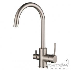 Смеситель для кухни с подключением к фильтру AquaSanita Sabiaduo 2963 никель
