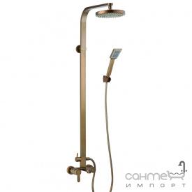 Душевая стойка со смесителем для ванны Blue Water GAL-ZWPN 500-ORN старое золото с орнам.