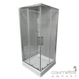 Квадратная душевая кабина Veronis KNS-100 профиль хром стекло прозрачное