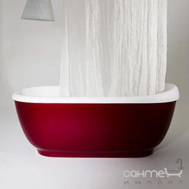 Отдельностоящая ванна из литого камня Balteco Vero белая внутри/Salmon Orange RAL 2012