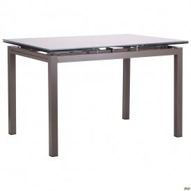 Стол обеденный раскладной Мишель серый/стекло платина