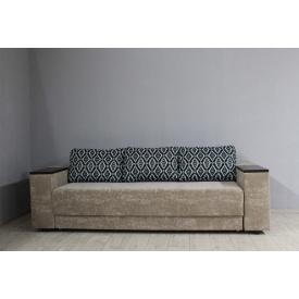 Диван раскладной Sovalle Остин, велюр светло-коричневый/подушки с рисунком (1212-01)