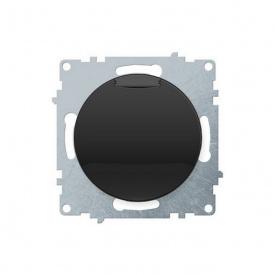 Розетка с крышкой, с заземлением, винтовые контакты, цвет чёрный (серия Florence) арт.1Е10501303