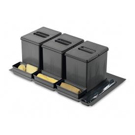 Система утилизации мусора фасад 900 Inoxa 97DA/903 ардезия 1 поддон 3 ведра 16 л 3 лотка