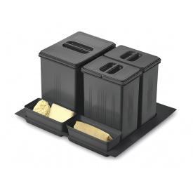 Система утилизации мусора фасад 600 Inoxa 97DA/6012 ардезия 1 поддон 1 ведро 16 л 2 ведра 75 л 2 лотка