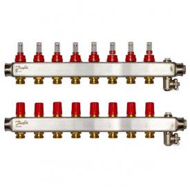 Коллектор Danfoss SSM-F на 8 контуров с ротаметрами (088U0758)
