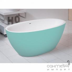 Отдельностоящая ванна из литого камня Balteco Flo 169 белая внутри/Salmon Orange RAL 2012