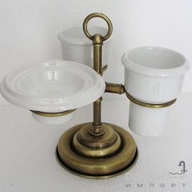 Мыльница и два стакана на подставке Pacini & Saccardi Oggetti Appoggio 30118/O золото
