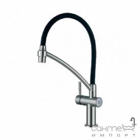 Смеситель кухонный с сенсорной подачей воды и рычагом Fabiano FKMS 60 8232.403.0757 Inox нержавеющая сталь/черный