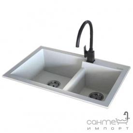 Гранітна кухонна мийка Fabiano Quadro 79x51x2 Antracit чорна