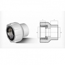 """Соединитель PP-R 20 мм x 1/2"""" В белый"""