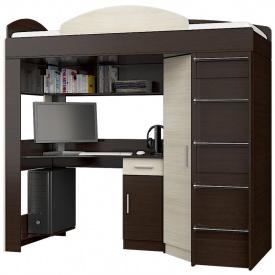 Кровать чердак со шкафом и рабочим местом Эверест венге молочный