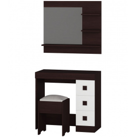 Туалетный столик c зеркалом и пуфом Эверест Соната (к-кт) венге + белый