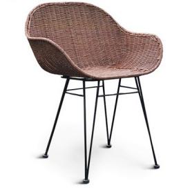 Кресло плетеное Cruzo Ники Нуово из натурального ротанга на металлических ножках