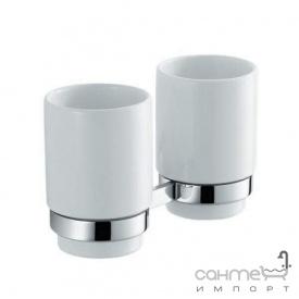 Пара керамических стаканов с настенным держателем Kraus Amnis KEA-11116 CH хром