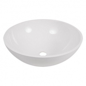 Умывальник накладной из литого мрамора Fancy Marble Mona 420 Белый глянцевый