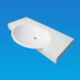 Умывальник врезной из литого мрамора Fancy Marble Carme 980 Белый глянцевый