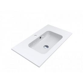 Умывальник из литого мрамора накладной Miraggio Della 800 Белый глянцевый
