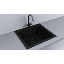 Кухонная мойка из гранита прямоугольная Fancy Marble Jersey 560 Черная