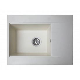 Кухонная мойка из гранита прямоугольная Miraggio Bodrum 650 White