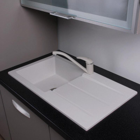 Кухонная мойка из гранита прямоугольная Fancy Marble Tennessee Белая
