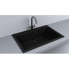 Кухонная мойка из гранита прямоугольная Fancy Marble Jersey 760 Черная