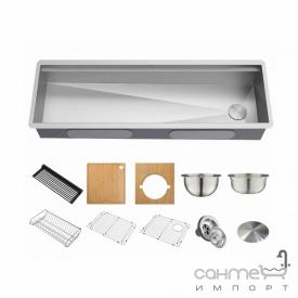 Кухонная мойка c аксессуарами Kraus Kore KWU210-57 нержавеющая сталь