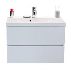 Тумба для ванной комнаты Fancy Marble Rodos 80 с раковиной Selina 800 Белая