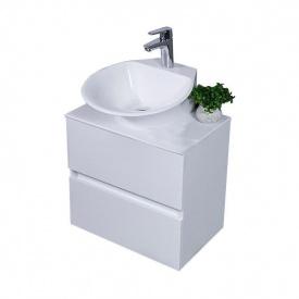 Тумба для ванной комнаты Fancy Marble Man со столешницей и раковиной Nila Белая