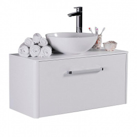 Тумба для ванной комнаты Fancy Marble Fiji 90 c умывальником Mona 420 Белая