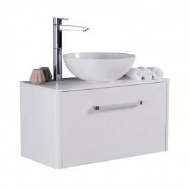 Тумба для ванной комнаты Fancy Marble Fiji 80 со столешницей и умывальником Mona 420 Белая