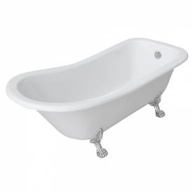 Ванна 176x73x73/58см отдельно стоящая на львиных лапах серебро акриловая VOLLE 12-22-706