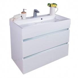 Тумба для ванной комнаты Fancy Marble Borneo 90 с раковиной Ashley 900 Белая