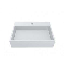Умывальник из литого мрамора накладной Miraggio Mares 600 Белый глянцевый 0000213